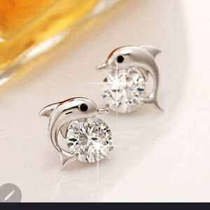Dolphin Stud Earrings Crystal 925 Sterling silver